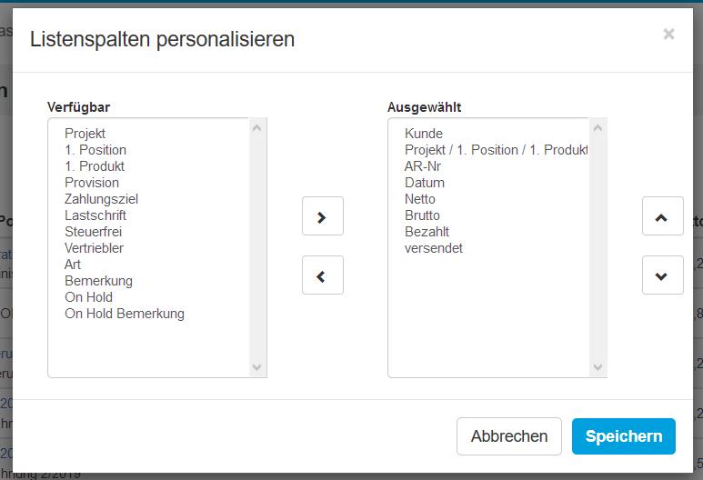 Listenspalten personalisieren